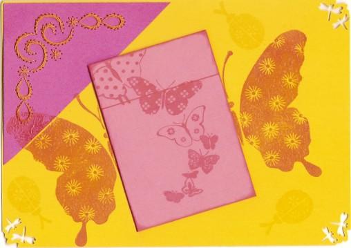 carte anniversaire fille rose jaune vif