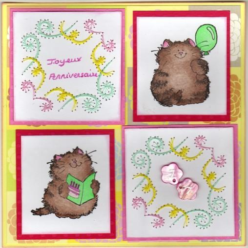 carte d'anniversaire - tons pastels - broderie sur papier - tamponnages
